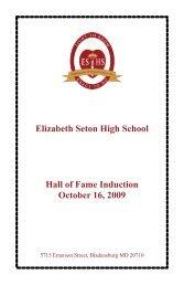 2009 Hall of Fame Induction Ceremony Program - Elizabeth Seton ...