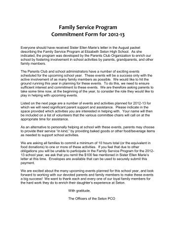 Family Service Program Commitment Form for 2012-13