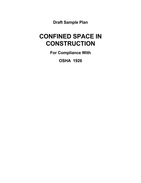 Sample Program - Confined Space - Construction - Seton