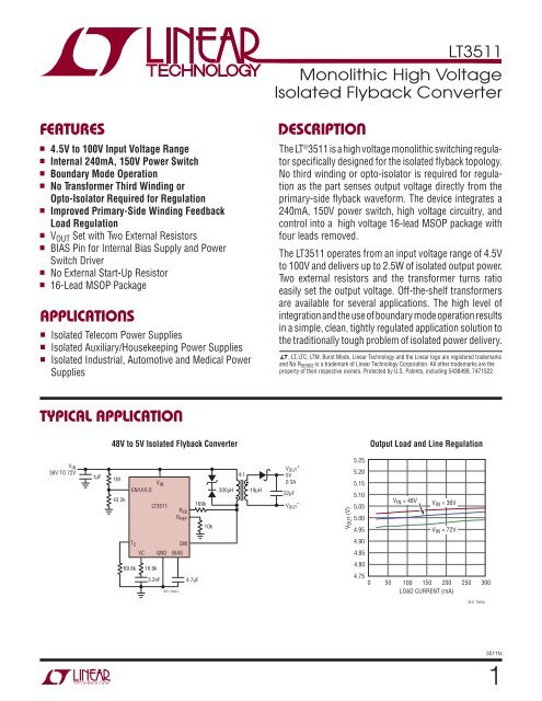 LT3511 - Monolithic High Voltage Isolated Flyback Converter