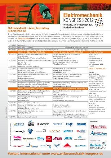 Programm Elektromechanik Kongress 2012 - setron
