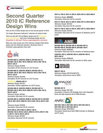 Second Quarter 2010 IC Reference Design Wins - setron