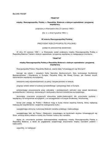 Traktat o dobrym sąsiedztwie i przyjaznej współpracy - granica.gov.pl