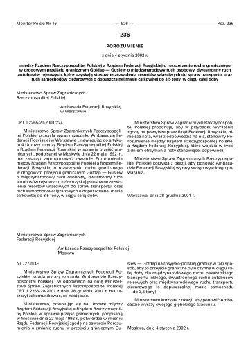 Porozumienie o rozszerzeniu ruchu Gołdap-Gusiew ... - granica.gov.pl