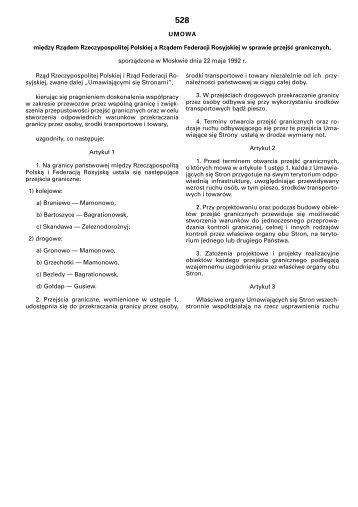 Umowa w sprawie przejść granicznych - granica.gov.pl
