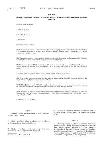 Umowa w sprawie handlu niektórymi wyrobami ... - granica.gov.pl