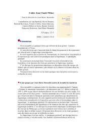 Cahier Jean-Claude Milner - LaLIC