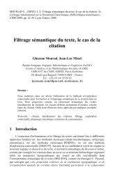 Filtrage sémantique du texte, le cas de la citation - LaLIC