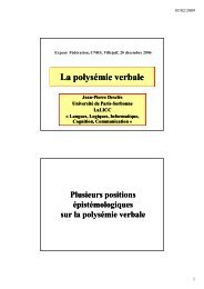 La polysémie verbale - LaLIC