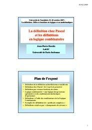 La définition chez Pascal et les définitions en logique ... - LaLIC
