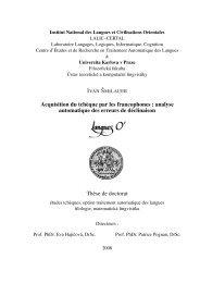 Acquisition du tchèque par les francophones : analyse ... - LaLIC
