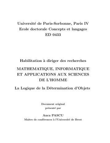Université de Paris-Sorbonne, Paris IV Ecole doctorale Concepts et ...