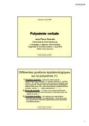 Polysémie verbale - LaLIC