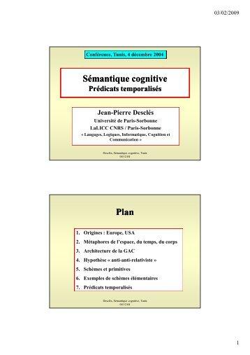 Sémantique cognitive Plan - LaLIC