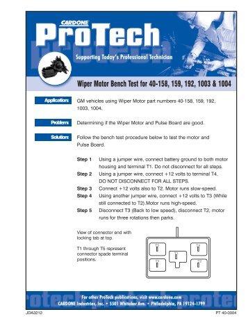 Wiper Motor Bench Test for 40-158, 159, 192, 1003 & 1004 - Cardone