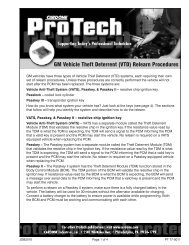 GM Vehicle Theft Deterrent (VTD) Relearn Procedures