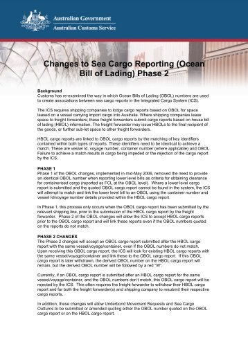 Changes to Sea Cargo Reporting