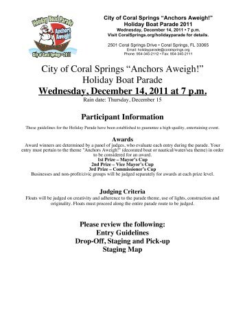 Holiday Boat Parade Wednesday, December 14, 2011 at 7 pm