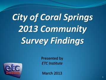 2009 King County Community Survey Findings - City of Coral Springs
