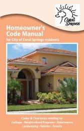 Homeowner's Code Manual - City of Coral Springs
