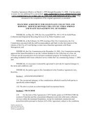 FRANCHISE AGREEMENT FOR SOLID WASTE - City of Coral Springs