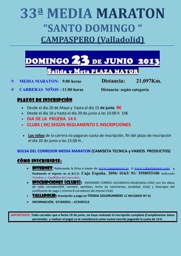 """33ª MEDIA MARATON """"SANTO DOMINGO """" - fetacyl.es"""