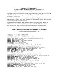 Stantonville Cemeteyr - McNairy, Life & Times of McNairy County, TN
