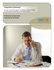 Competency framework • Former real estate agent's ... - oaciq