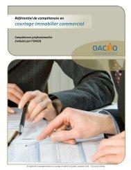 Référentiel de compétences en courtage immobilier ... - oaciq
