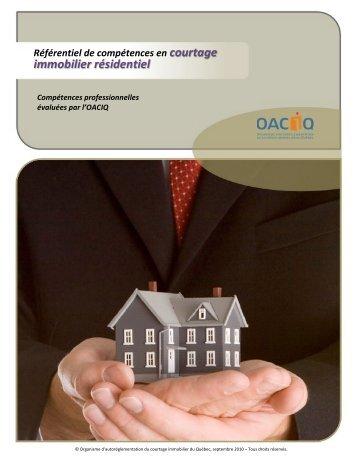 Référentiel de compétences en courtage immobilier résidentiel - oaciq