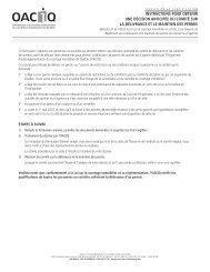 Demande pour obtenir une décision anticipée du comité - oaciq
