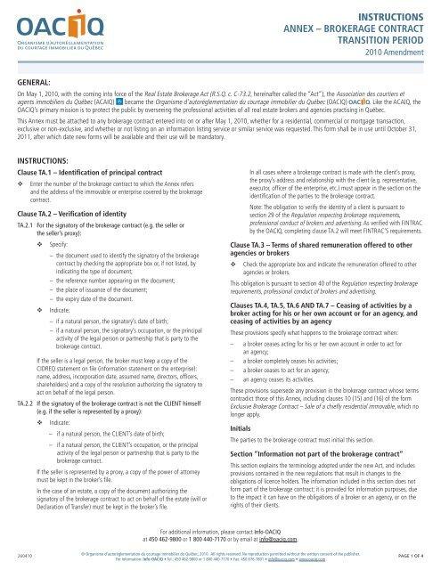 brokerage contract transition period - oaciq