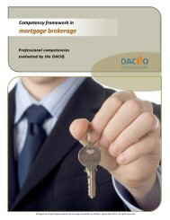 Competency framework in mortgage brokerage – September ... - oaciq