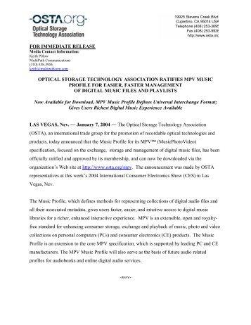 press release - OSTA - Optical Storage Technology Association