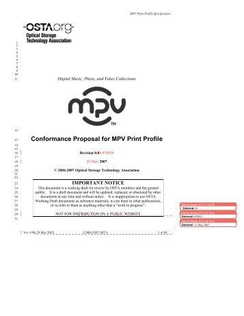 Conformance Proposal for MPV Print Profile 13 - OSTA - Optical ...