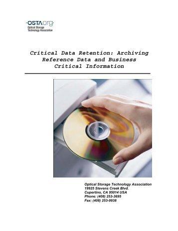 Critical Data Retention - OSTA - Optical Storage Technology ...