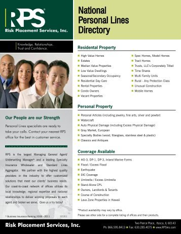 National Personal Lines Directory - Risk Placement Services, Inc.