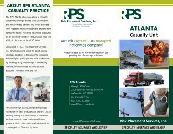 RPS Atlanta - Casualty Practice - Risk Placement Services, Inc.