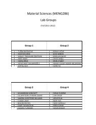 Material Sciences (MENG286) Lab Groups