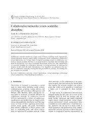 Collaborative networks: a new scientific discipline - Uninova