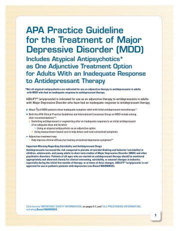 APA Practice Guideline for the Treatment of Major Depressive - Abilify