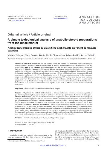 A simple toxicological analysis of anabolic steroid preparations from ...