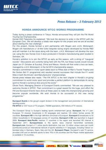 Press Release – 3 February 2012 - WTCC