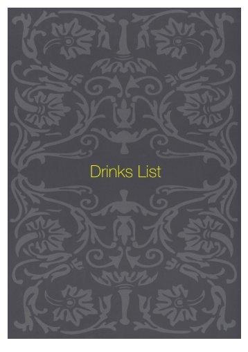 Drinks List - Sette Bello