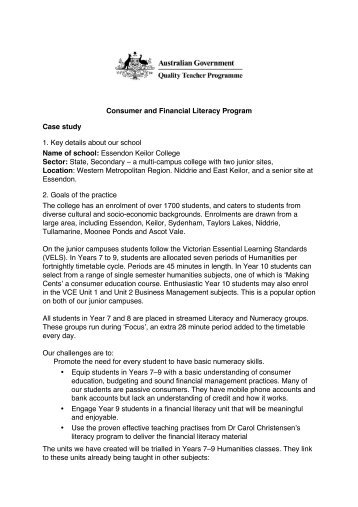 Consumer and Financial Literacy Program Case study 1. Key details ...