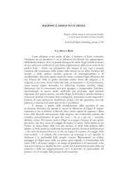 RAGIONE E ASSOLUTO IN HEGEL La critica a Kant Come abbiamo ...