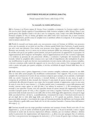 GOTTFRIED WILHELM LEIBNIZ (1646-1716) Principi razionali della ...