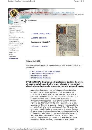 L. Canfora / Leggere i classici - IIS Severi-Correnti