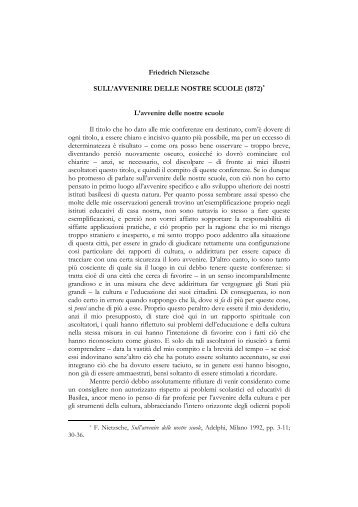 Nietzsche - Sull'avvenire delle nostre scuole - IIS Severi-Correnti