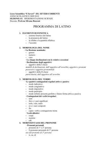 PROGRAMMA DI LATINO - IIS Severi-Correnti